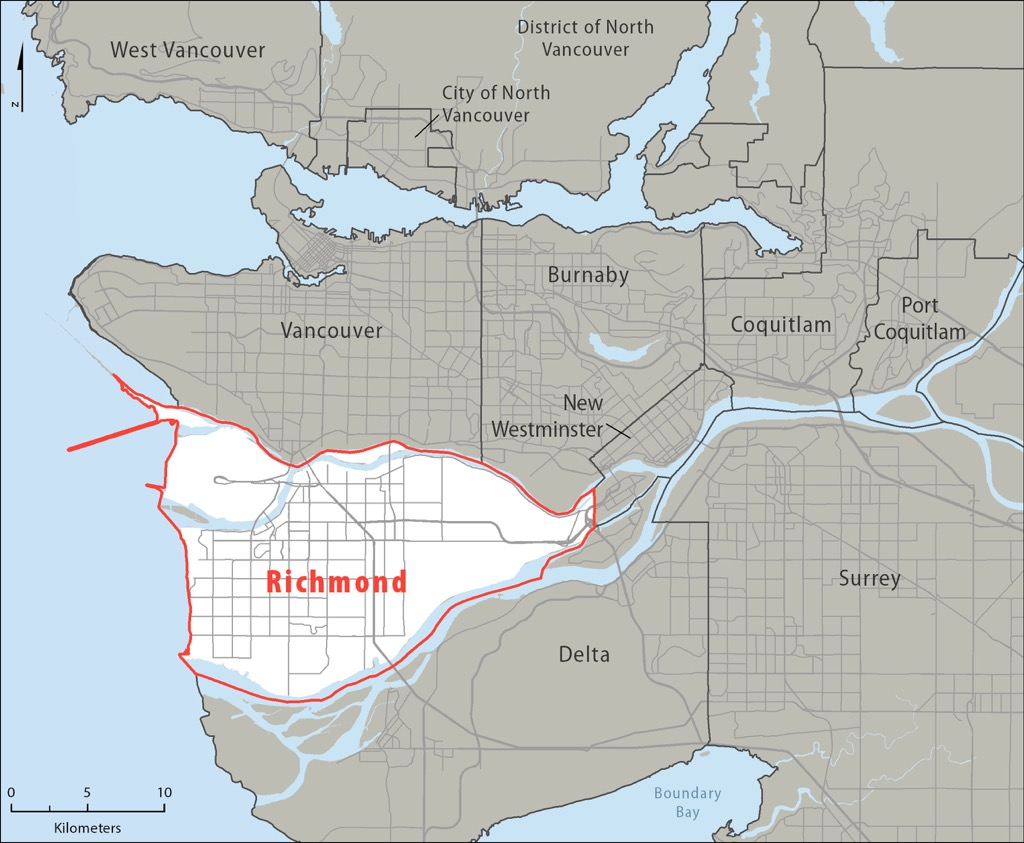 A map showing Richmond and the Vancouver area.