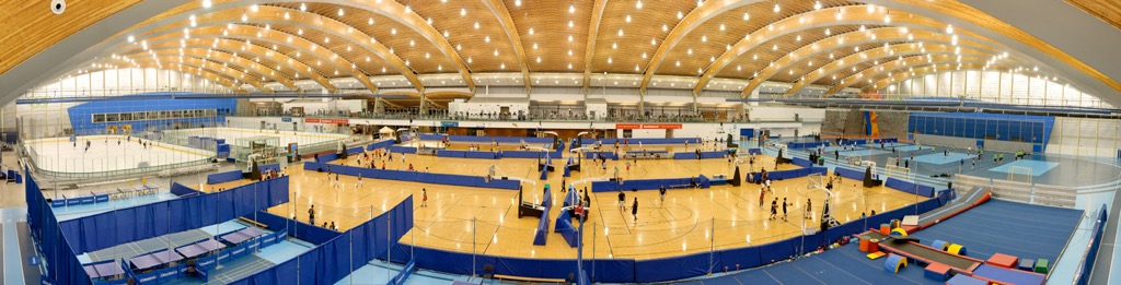 Multi-sports courts and the ice skating rink inside Richmond Olympic Oval.