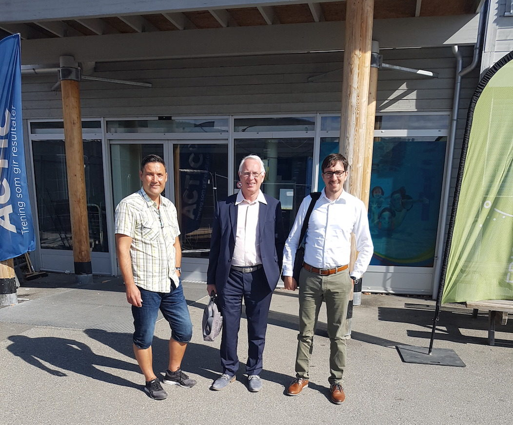 The Global Active City team standing outside a health care centre in Lillehammer
