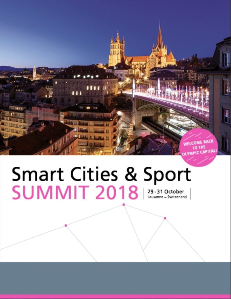 The first page of the programme for the Smart Cities & Sport Summit 2018, in Lausanne, Switzerland from 29 to 31 October