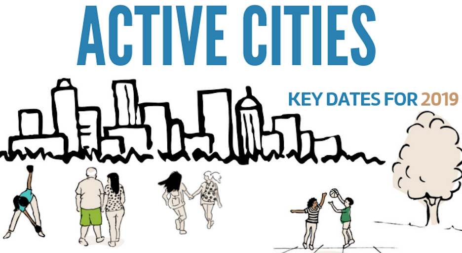 Active Cities key dates 2019: illustration of people in an active city.