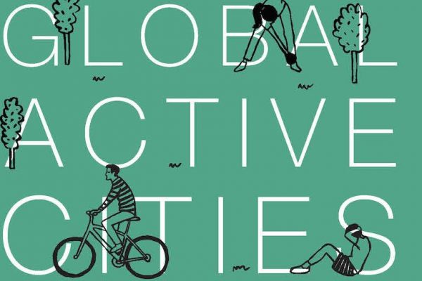 An artist's illustration of the words Global Active Cities with people being active
